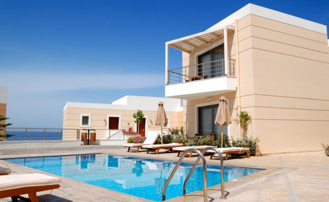 Swimming pool at the modern luxury villa, Crete, Greece